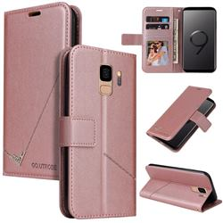 GQ.UTROBE Right Angle Silver Pendant Leather Wallet Phone Case for Samsung Galaxy S9 - Rose Gold