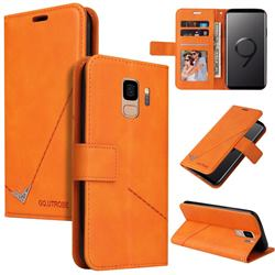 GQ.UTROBE Right Angle Silver Pendant Leather Wallet Phone Case for Samsung Galaxy S9 - Orange