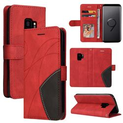 Luxury Two-color Stitching Leather Wallet Case Cover for Samsung Galaxy S9 - Red