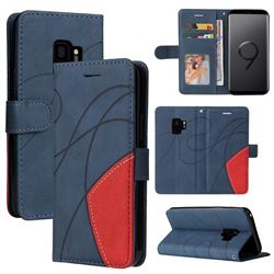 Luxury Two-color Stitching Leather Wallet Case Cover for Samsung Galaxy S9 - Blue