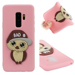 Bad Boy Owl Soft 3D Silicone Case for Samsung Galaxy S9 Plus(S9+) - Pink