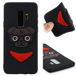 Glasses Dog Soft 3D Silicone Case for Samsung Galaxy S9 Plus(S9+) - Black