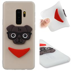 Glasses Dog Soft 3D Silicone Case for Samsung Galaxy S9 Plus(S9+) - Translucent White