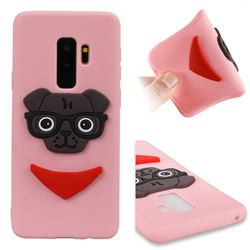 Glasses Dog Soft 3D Silicone Case for Samsung Galaxy S9 Plus(S9+) - Pink