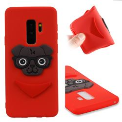 Glasses Dog Soft 3D Silicone Case for Samsung Galaxy S9 Plus(S9+) - Red