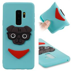 Glasses Dog Soft 3D Silicone Case for Samsung Galaxy S9 Plus(S9+) - Sky Blue