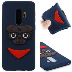 Glasses Dog Soft 3D Silicone Case for Samsung Galaxy S9 Plus(S9+) - Navy