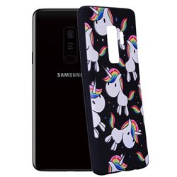 Rainbow Unicorn 3D Embossed Relief Black Soft Back Cover for Samsung Galaxy S9 Plus(S9+)