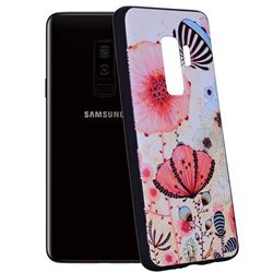 Pink Flower 3D Embossed Relief Black Soft Back Cover for Samsung Galaxy S9 Plus(S9+)