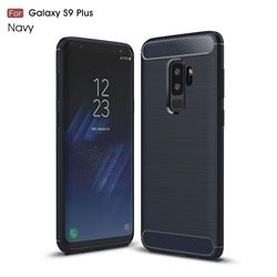 Luxury Carbon Fiber Brushed Wire Drawing Silicone TPU Back Cover for Samsung Galaxy S9 Plus(S9+) - Navy