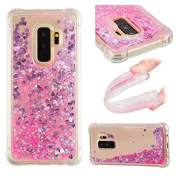 Dynamic Liquid Glitter Sand Quicksand TPU Case for Samsung Galaxy S9 Plus(S9+) - Pink Love Heart