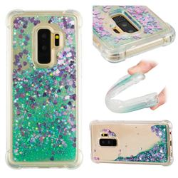 Dynamic Liquid Glitter Sand Quicksand TPU Case for Samsung Galaxy S9 Plus(S9+) - Green Love Heart