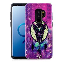 Starry Campanula Owl Pattern 2 in 1 PC + TPU Glossy Embossed Back Cover for Samsung Galaxy S9 Plus(S9+)