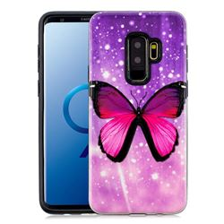 Glossy Butterfly Pattern 2 in 1 PC + TPU Glossy Embossed Back Cover for Samsung Galaxy S9 Plus(S9+)