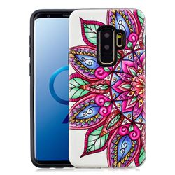 Mandara Flower Pattern 2 in 1 PC + TPU Glossy Embossed Back Cover for Samsung Galaxy S9 Plus(S9+)