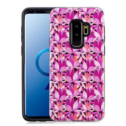 Lotus Flower Pattern 2 in 1 PC + TPU Glossy Embossed Back Cover for Samsung Galaxy S9 Plus(S9+)