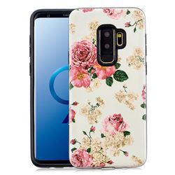 Rose Flower Pattern 2 in 1 PC + TPU Glossy Embossed Back Cover for Samsung Galaxy S9 Plus(S9+)