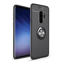 Auto Focus Invisible Ring Holder Soft Phone Case for Samsung Galaxy S9 Plus(S9+) - Black