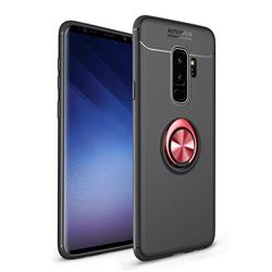 Auto Focus Invisible Ring Holder Soft Phone Case for Samsung Galaxy S9 Plus(S9+) - Black Red