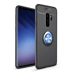Auto Focus Invisible Ring Holder Soft Phone Case for Samsung Galaxy S9 Plus(S9+) - Black Blue