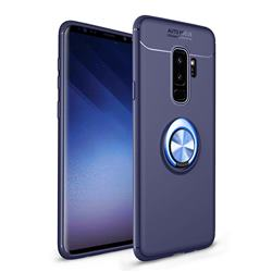 Auto Focus Invisible Ring Holder Soft Phone Case for Samsung Galaxy S9 Plus(S9+) - Blue