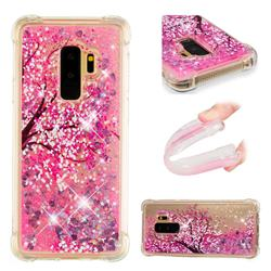 Pink Cherry Blossom Dynamic Liquid Glitter Sand Quicksand Star TPU Case for Samsung Galaxy S9 Plus(S9+)