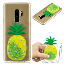 Green Pineapple Liquid Quicksand Soft 3D Cartoon Case for Samsung Galaxy S9 Plus(S9+)