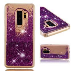 Dynamic Liquid Glitter Quicksand Sequins TPU Phone Case for Samsung Galaxy S9 Plus(S9+) - Purple