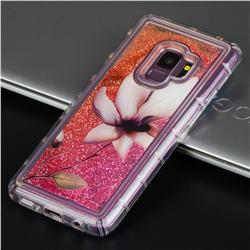 Lotus Glassy Glitter Quicksand Dynamic Liquid Soft Phone Case for Samsung Galaxy S9 Plus(S9+)