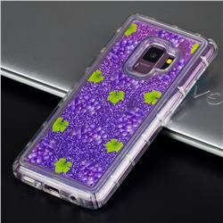 Purple Grape Glassy Glitter Quicksand Dynamic Liquid Soft Phone Case for Samsung Galaxy S9 Plus(S9+)