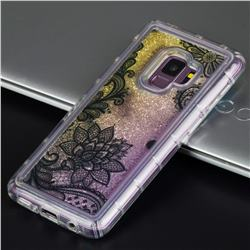 Diagonal Lace Glassy Glitter Quicksand Dynamic Liquid Soft Phone Case for Samsung Galaxy S9 Plus(S9+)