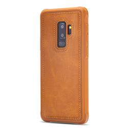 Luxury Shatter-resistant Leather Coated Phone Back Cover for Samsung Galaxy S9 Plus(S9+) - Brown