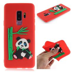 Panda Eating Bamboo Soft 3D Silicone Case for Samsung Galaxy S9 Plus(S9+) - Red