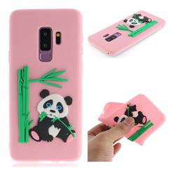 Panda Eating Bamboo Soft 3D Silicone Case for Samsung Galaxy S9 Plus(S9+) - Pink