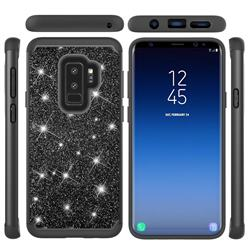 Glitter Rhinestone Bling Shock Absorbing Hybrid Defender Rugged Phone Case Cover for Samsung Galaxy S9 Plus(S9+) - Black