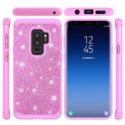 Glitter Rhinestone Bling Shock Absorbing Hybrid Defender Rugged Phone Case Cover for Samsung Galaxy S9 Plus(S9+) - Pink