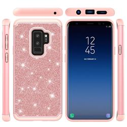 Glitter Rhinestone Bling Shock Absorbing Hybrid Defender Rugged Phone Case Cover for Samsung Galaxy S9 Plus(S9+) - Rose Gold