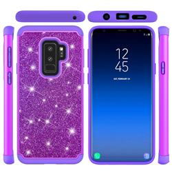 Glitter Rhinestone Bling Shock Absorbing Hybrid Defender Rugged Phone Case Cover for Samsung Galaxy S9 Plus(S9+) - Purple