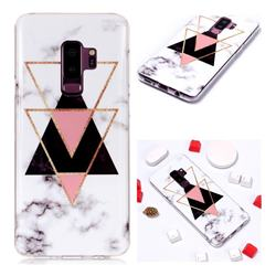 Inverted Triangle Black Soft TPU Marble Pattern Phone Case for Samsung Galaxy S9 Plus(S9+)