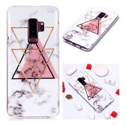 Inverted Triangle Powder Soft TPU Marble Pattern Phone Case for Samsung Galaxy S9 Plus(S9+)