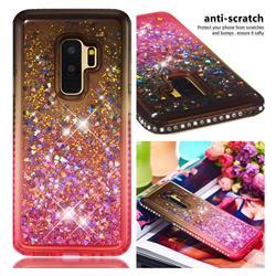 Diamond Frame Liquid Glitter Quicksand Sequins Phone Case for Samsung Galaxy S9 Plus(S9+) - Gray Pink