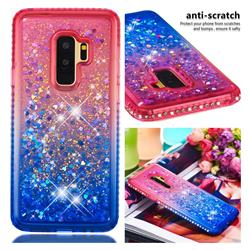 Diamond Frame Liquid Glitter Quicksand Sequins Phone Case for Samsung Galaxy S9 Plus(S9+) - Pink Blue
