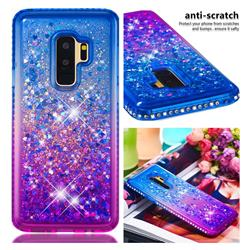 Diamond Frame Liquid Glitter Quicksand Sequins Phone Case for Samsung Galaxy S9 Plus(S9+) - Blue Purple