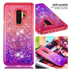Diamond Frame Liquid Glitter Quicksand Sequins Phone Case for Samsung Galaxy S9 Plus(S9+) - Pink Purple