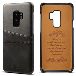 Suteni Retro Classic Card Slots Calf Leather Coated Back Cover for Samsung Galaxy S9 Plus(S9+) - Black