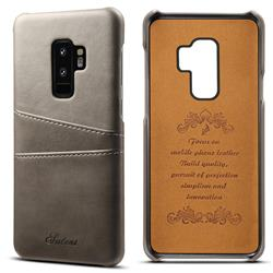 Suteni Retro Classic Card Slots Calf Leather Coated Back Cover for Samsung Galaxy S9 Plus(S9+) - Gray
