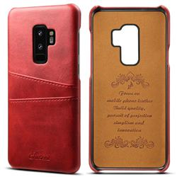 Suteni Retro Classic Card Slots Calf Leather Coated Back Cover for Samsung Galaxy S9 Plus(S9+) - Red