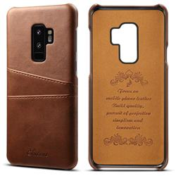 Suteni Retro Classic Card Slots Calf Leather Coated Back Cover for Samsung Galaxy S9 Plus(S9+) - Brown