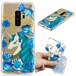 Blue Flower Unicorn Clear Varnish Soft Phone Back Cover for Samsung Galaxy S9 Plus(S9+)