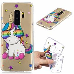 Glasses Unicorn Clear Varnish Soft Phone Back Cover for Samsung Galaxy S9 Plus(S9+)